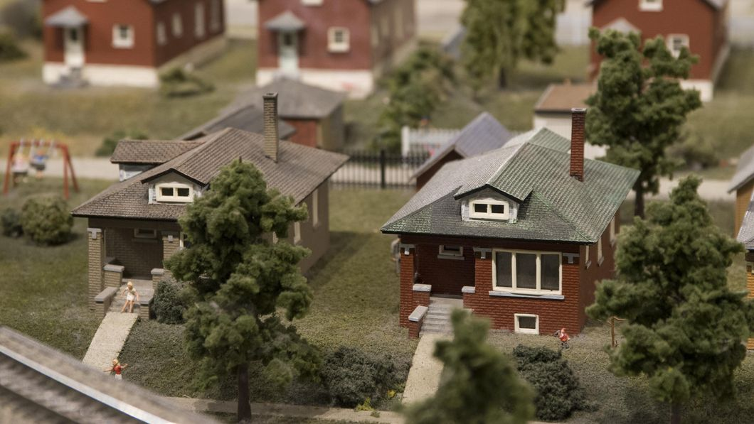 Neighborhood of miniature houses in the Great Train Story exhibit